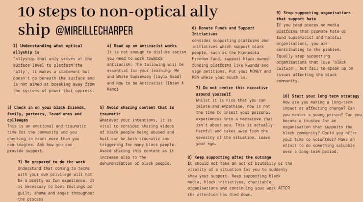 10 steps to non-optical allyship